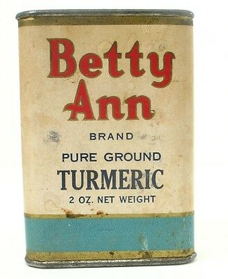 Antique/Vintage BETTY ANN Spice Tin/Cardboard Box, Tumeric, Paper Label