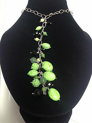 * SALE * Sterling SILVER 925 Natural Green TURQUOISE ONYX JADE Lariat NECKLACE