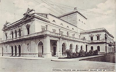Panama City - Theater and Government Palace old unused postcard