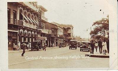 Panama City CZ - Central Avenue and Kelly's Ritz old real photo sepia postcard.