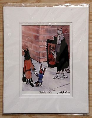 """Frank Coble Bad Kitties """"The Catnip Dealer"""" Signed Matted 2005 Print 8 x 10"""