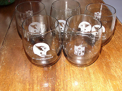 5 St. Louis Football Cardinals Double Highball Old Fashioned Glasses Shell Oil