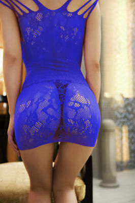 Women's Sexy Blue Lace Chemise Lingerie Nightwear One Size Fits: 12 - 14