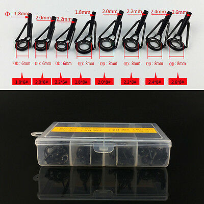 80pcs Fishing Rods Guide Tip Top Repair Part Fish Pole Eye Ring Kit Black 8 Size