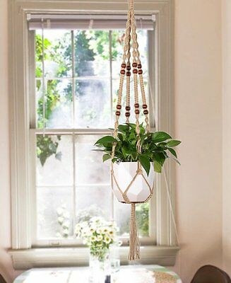 Mkono Macrame Plant Hanger Indoor Outdoor Hanging Planter Basket Jute Rope 48 in