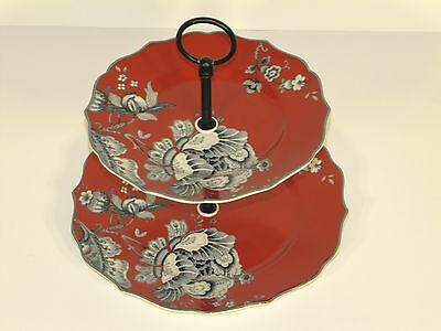New 222 Fifth Gabrielle Silhouette Fine China Porcelain Art 2-Tier Serving Tray