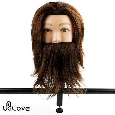 100% Real Human Hair Hairdressing Practice Training Mannequin Beard Head+Clamp