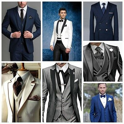 New Custom Men Wedding Groom Tuxedos Best Man Groomsmen Dinner Party Men Suit