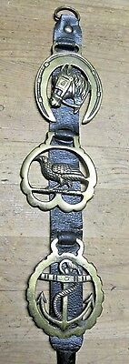 vintage english hores tack bridal harness leather strap brass medallions