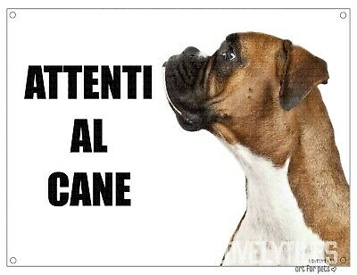 BOXER mod 2 attenti al cane TARGA cartello IN METALLO 30x20