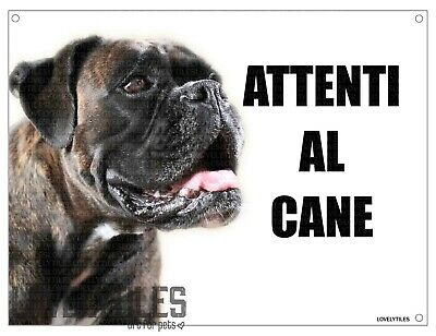 BOXER mod 3 attenti al cane TARGA cartello IN METALLO 30x20