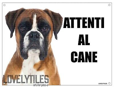 BOXER mod 4 attenti al cane TARGA cartello IN METALLO 30x20