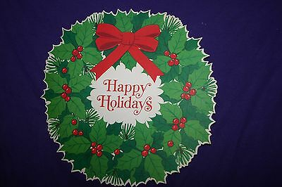 Die cut Happy Holidays Christmas wreath