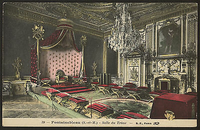 France. Paris. Fontainebleau. Salle du Trone - Vintage Colour Printed Postcard
