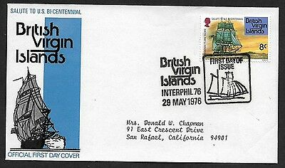 (111cents) British Virgin Islands 1976 Interphil 76 First Day Cover