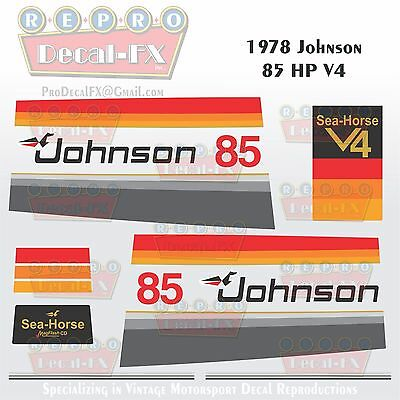 1978 Johnson 85 HP V4 Sea-Horse Outboard Reproduction 15 Pc Marine Vinyl Decals