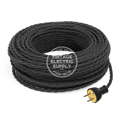 Black Cordset - Raw Yarn Covered Twisted Rewire Set - Antique Lamp & Fan Cord