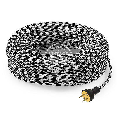 Black Houndstooth Cordset - Cloth Covered Rewire Set - Antique Lamp & Fan Cord