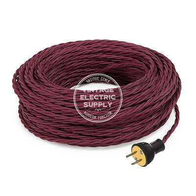 Burgundy Cordset - Cloth Covered Twisted Rewire Set - Antique Lamp & Fan Cord