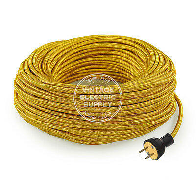 Gold Cordset - Cloth Covered Round Rewire Set - Antique Lamp & Fan Cord