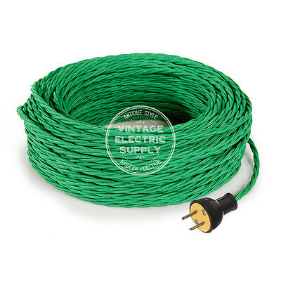 Green Cordset - Cloth Covered Twisted Rewire Set - Antique Lamp & Fan Cord