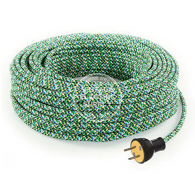 Mixed Greens Cordset - Cloth Covered Round Rewire Set - Antique Lamp & Fan Cord
