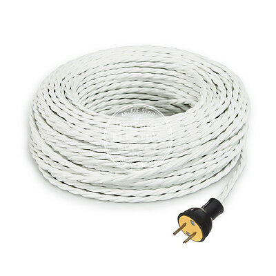 White Cordset - Cloth Covered Twisted Rewire Set - Antique Lamp & Fan Cord
