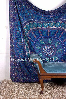 Tapestry Queen Turquoise Peacock Urban Mandala Beach Hand Print Indian