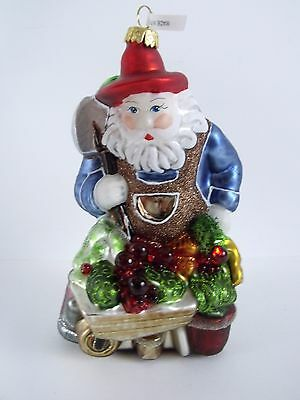 Glass Glittered Santa W/Vegetable Cart Christmas Holiday Ornament Poland