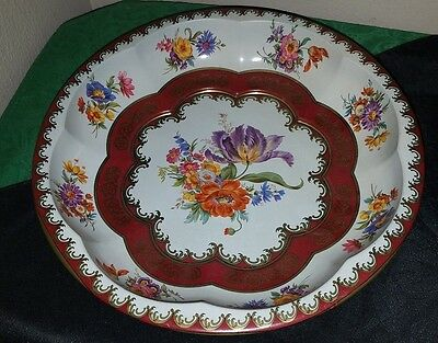 PRETTY Vintage 1971 DAHER Decorated Ware Round Floral TIN Bowl/Dish!