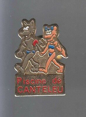 Rare Pins Pin's .. Animal Loup Wolf Piscine Natation Canteleu 76 ~Av