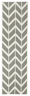 80x300 Runner Flatweave Wool Floor Rug GYPSY Modern Grey Zig Zag Chevron NM30GR