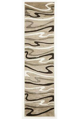 80x400cm Runner Modern Floor Rug ICONIC BEIGE SWIRLS WAVES Mat IC700B