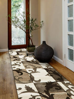 80x300cm Runner Modern Floor Rug ICONIC BEIGE SQUARES VINES Mat IC701CR