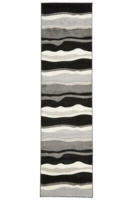 80x300cm Runner Modern Floor Rug ICONIC BLACK GREY Thick Waves Mat IC703BL