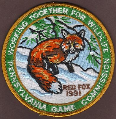 "Pa Pennsylvania Pennsylvania Game Fish Commission WTFW 4"" 1991 Red Fox Patch"
