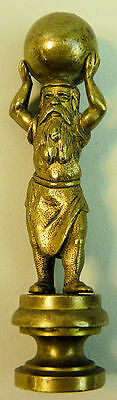 A Victorian Brass Figural Seal Atlas Supporting The World