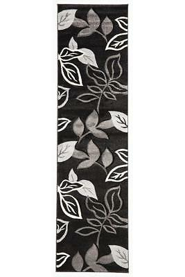 80x400cm Runner Modern Floor Rug ICONIC BLACK Thick Leaf Mat IC705BL