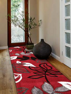 80x150cm Runner Modern Floor Rug ICONIC RED Thick Leaf Mat IC705R