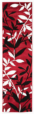 80x150cm Runner Modern Floor Rug ICONIC RED Sping Leaves Mat IC707R