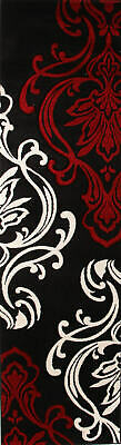 80x150cm Runner Modern Floor Rug ICONIC BLACK Damask Mat IC708BL