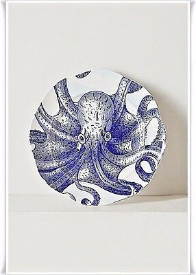 Anthropologie From The Deep Side/Salad Plate Octopus Stoneware Whimsical BNIB
