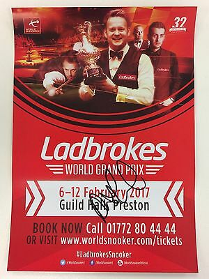 Snooker Ladbrokes World Grand Prix Flyer 2017. Signed by Anthony McGill.