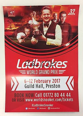 Snooker Ladbrokes World Grand Prix Flyer 2017. Signed by Clive Everton.