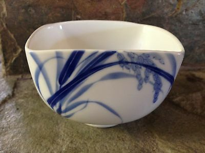 Vintage Japan White & Blue Square Rice / Soup Bowl With Japanese Character Mark