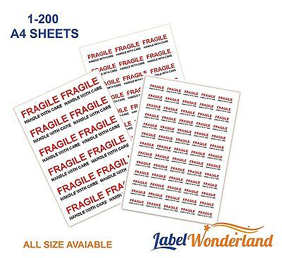 FRAGILE Handle With Care Labels Self Adhesive Small, Medium, Large Stickers