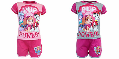 Top Shorts Paw Patrol summer set shorts with top cotton girls pink grey