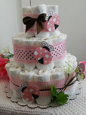 3 Tier Diaper Cake Ladybug Pink Brown PolkaDot Girl Baby Shower Gift Centerpiece