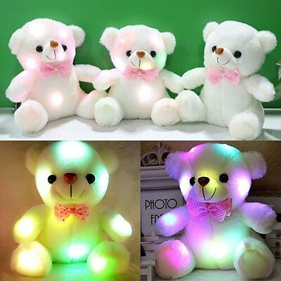Lovely LED Light White Teddy Bear Stuffed Kids Birthday Gift Baby Toy 20cm PF