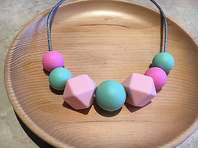 Silicone Sensory Baby (was teething) Necklace for Mum Jewellery Beads Pastel Aus